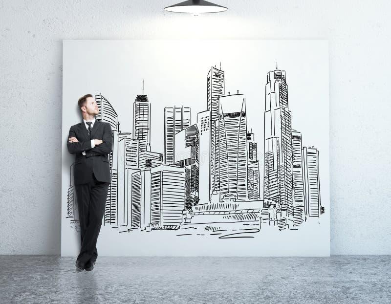 Mens die stadsschets bekijken vector illustratie