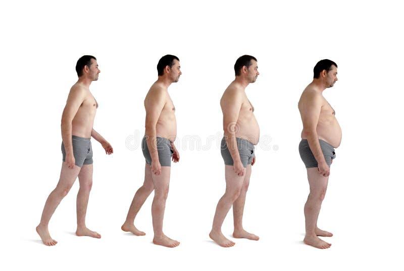 Mens die stijgende gewichtsaanwinst maken royalty-vrije stock afbeelding