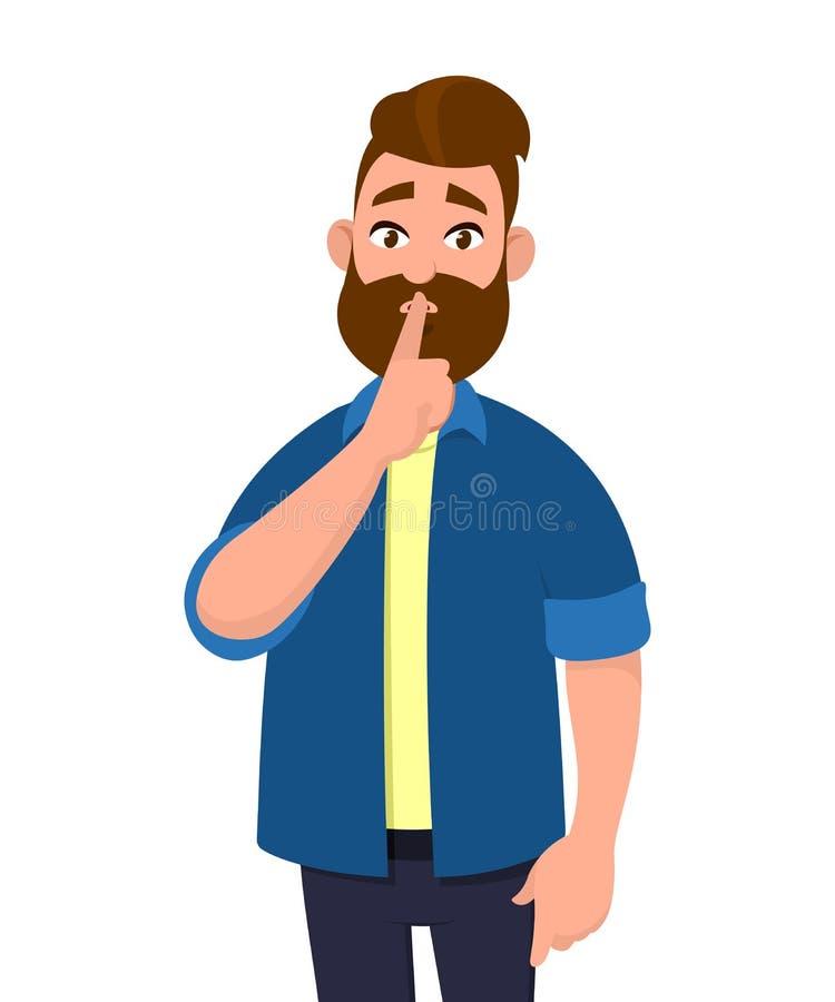 Mens die stilte vragen De gesturing stilte van de mens Stilte tevreden Het teken van de stilte vector illustratie