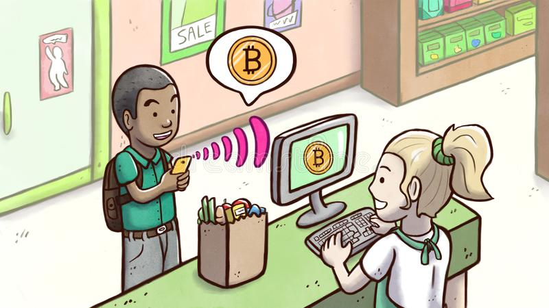 Mens die telefoon met behulp van om met Bitcoin-cryptocurrency in een kruidenierswinkelwinkel te betalen vector illustratie