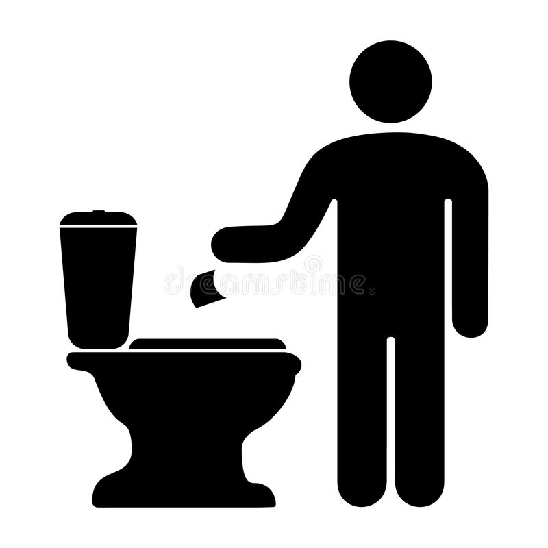 mens die toiletpapier in het toilet werpen royalty-vrije illustratie