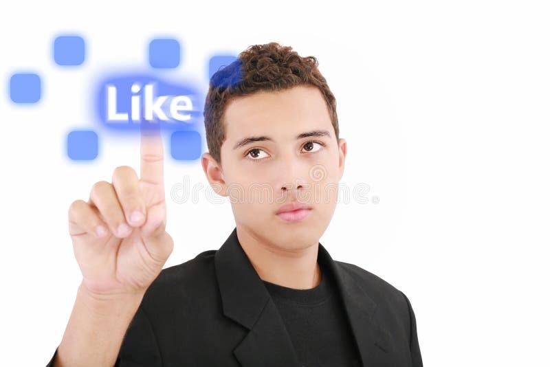 Mens die touchscreen zoals knoop drukt royalty-vrije stock fotografie