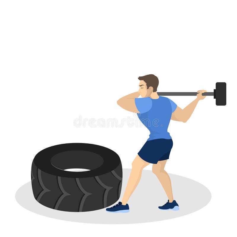 Mens die training doet Geschiktheid en bodybuilding oefening vector illustratie