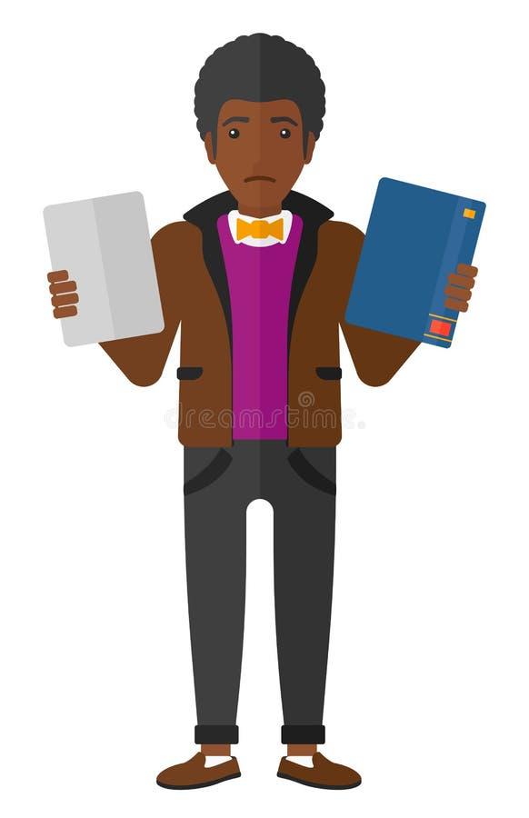 Mens die tussen boek en tablet kiezen royalty-vrije illustratie