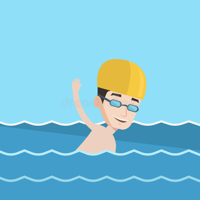 Mens die vectorillustratie zwemmen royalty-vrije illustratie
