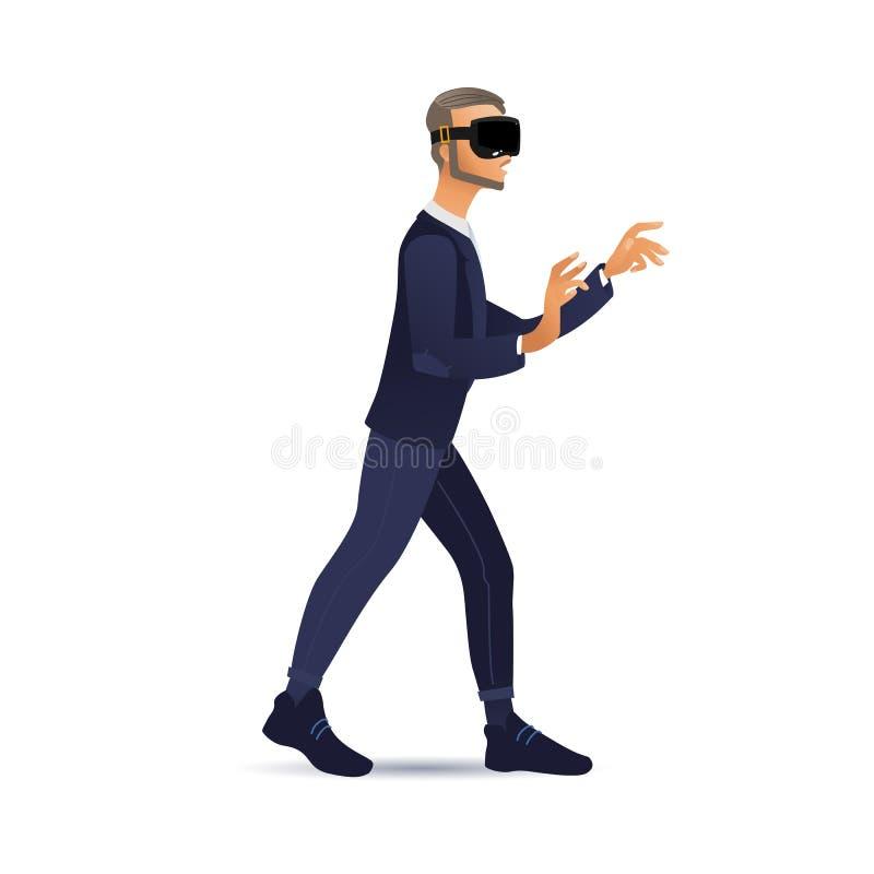 Mens die virtuele werkelijkheidshoofdtelefoon dragen die en wat betreft vrinterface lopen royalty-vrije illustratie