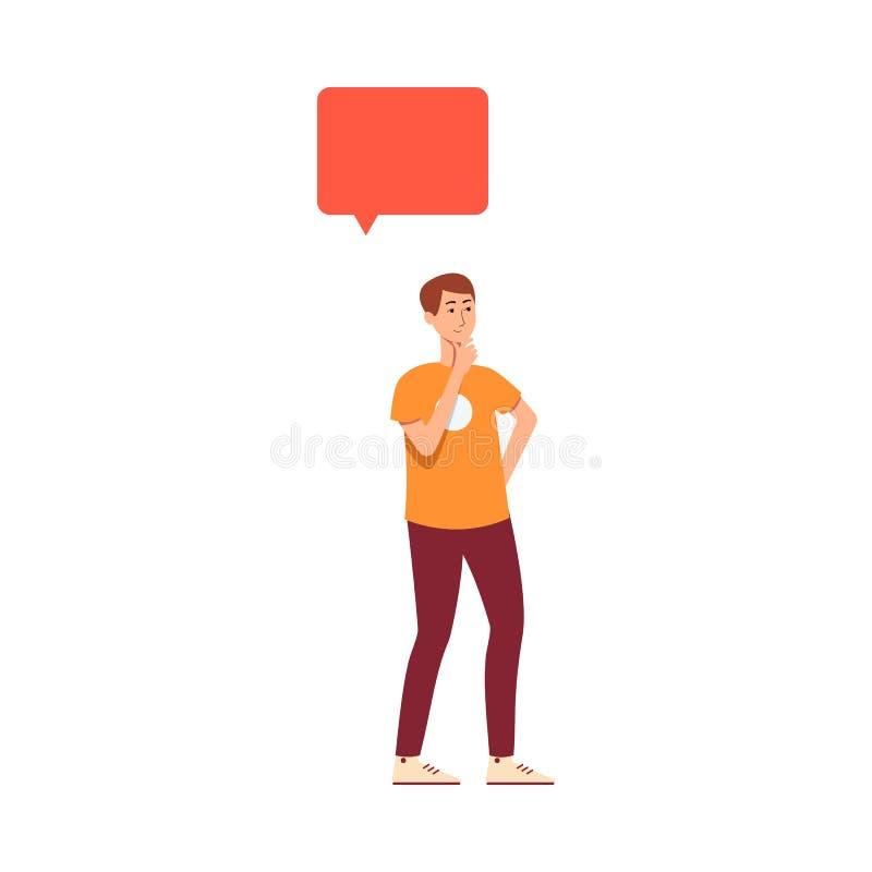 Mens die in vrijetijdskleding met toespraakbel denken boven hoofdbeeldverhaalstijl vector illustratie