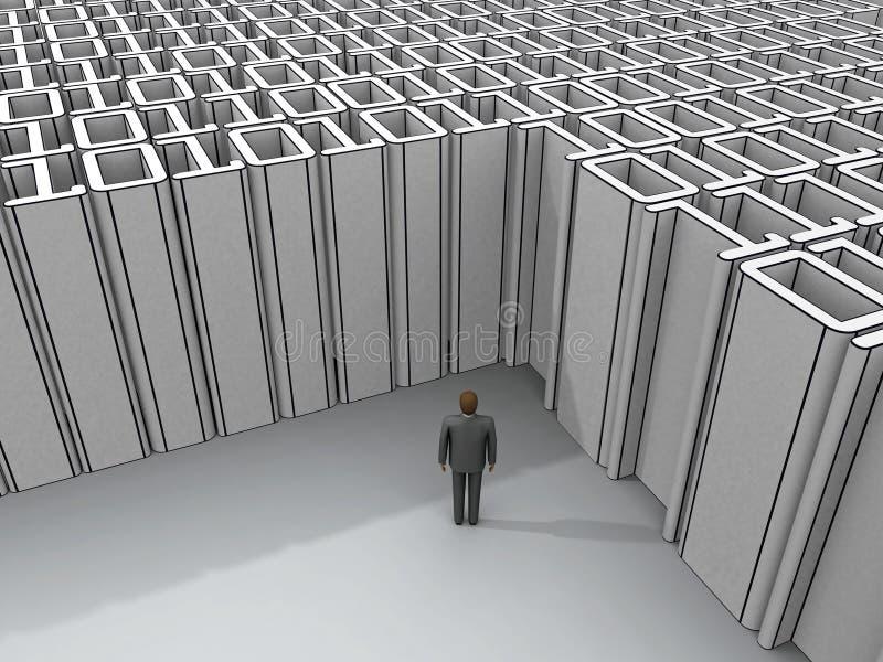 Mens die zich bij binaire impasse bevindt stock illustratie