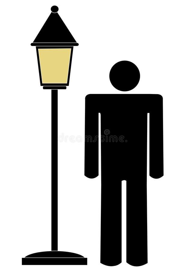 Mens die zich door lamppost bevindt royalty-vrije illustratie