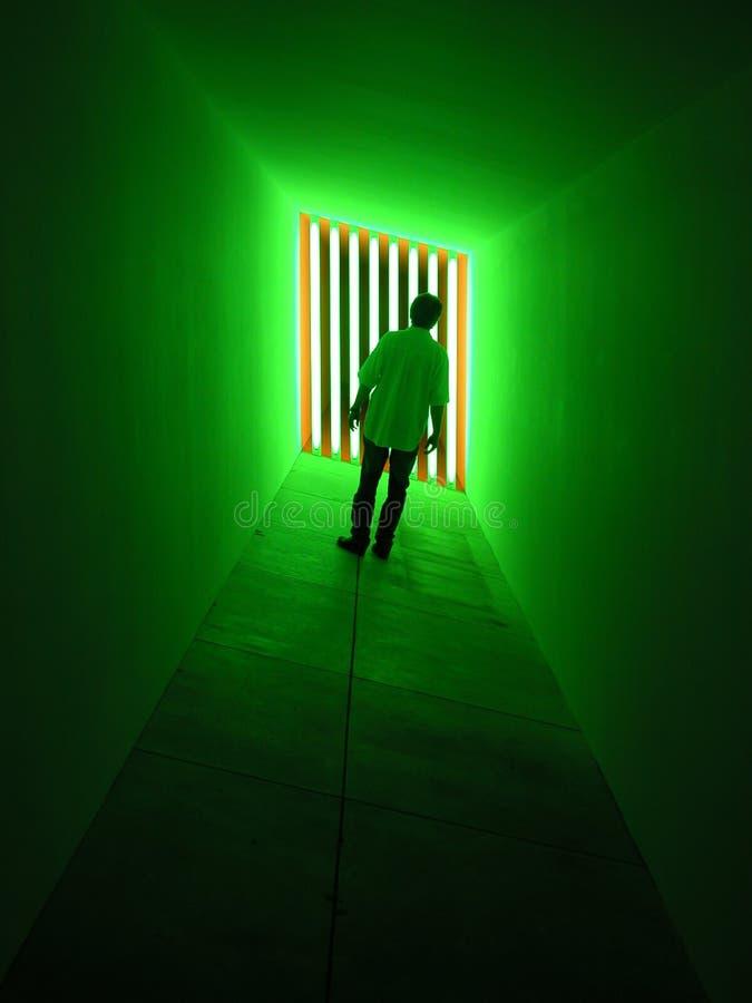 Mens die zich in Groene Lichten bevindt stock afbeelding