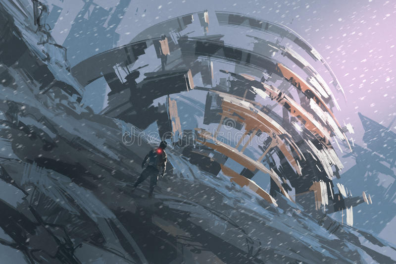 Mens die zich op de heuvel bevinden die op de abstracte architectuur letten vector illustratie