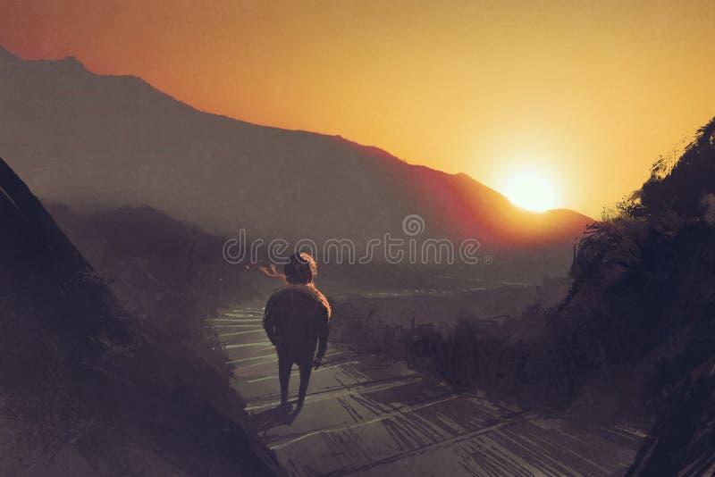 Mens die zich op de treden bevinden die van de bergweg de zonsondergang bekijken royalty-vrije illustratie
