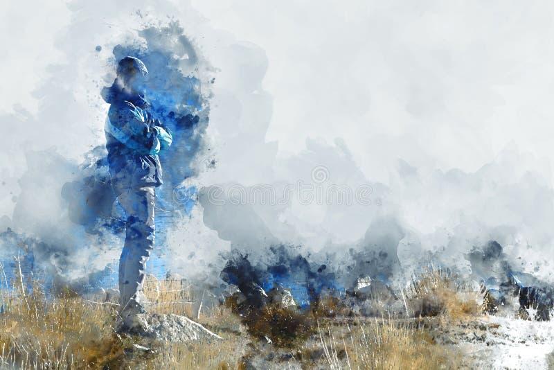 Mens die zich op grasgebied bevinden, digitaal waterverfbeeld vector illustratie