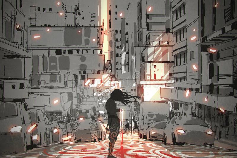 Mens die zich in stad met grafisch patroon op straat bevinden royalty-vrije illustratie