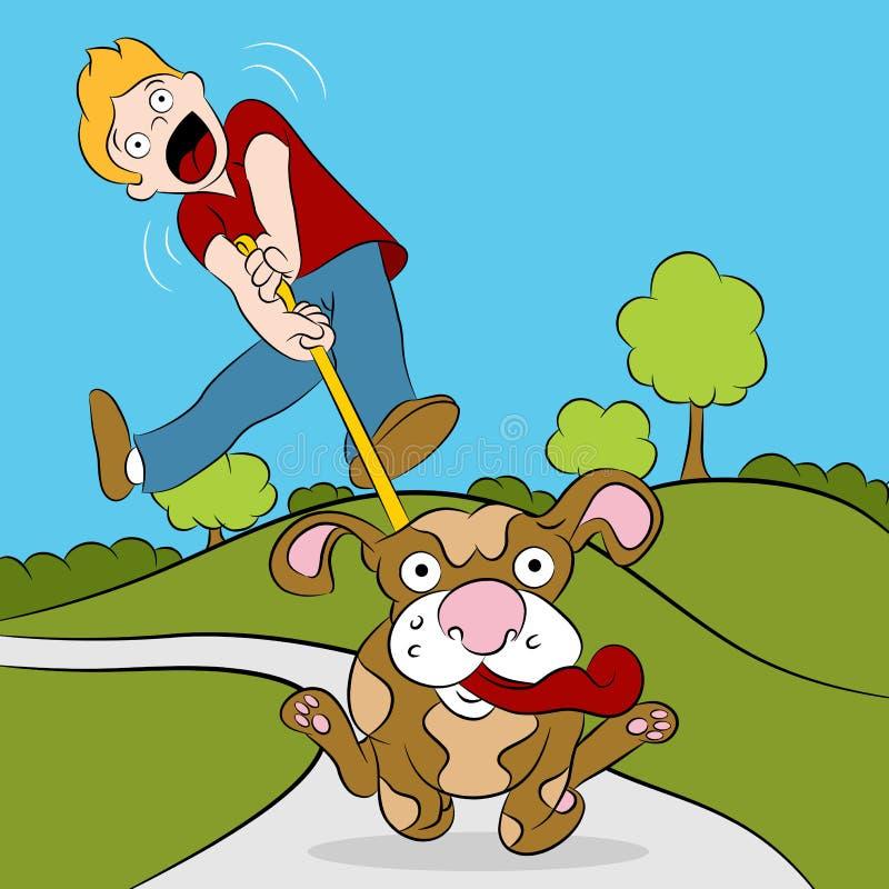 Mens die Zijn Hond probeert te lopen vector illustratie