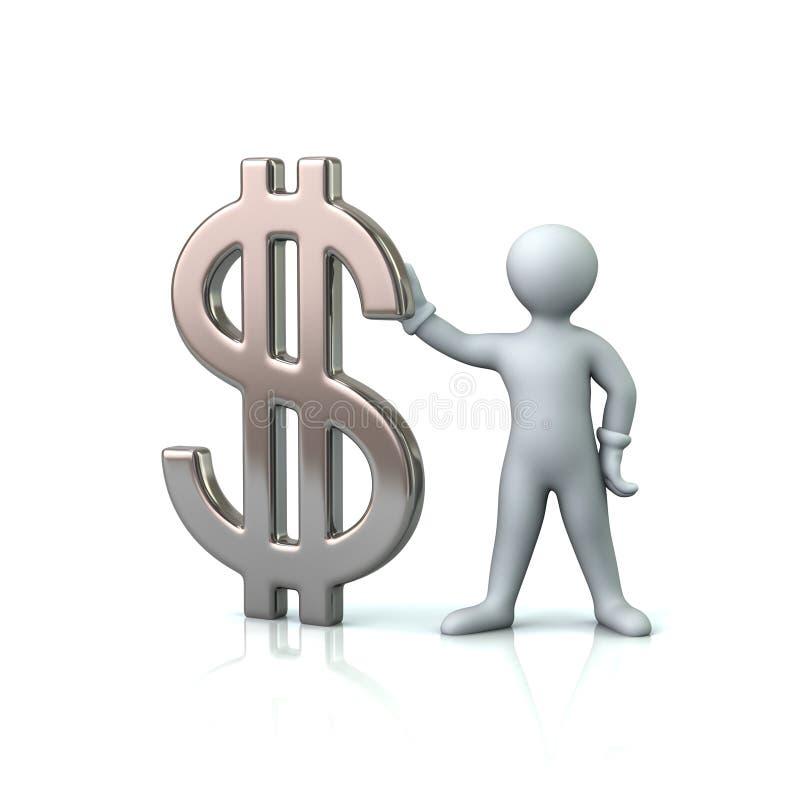 Mens die zilveren dollarteken houden vector illustratie