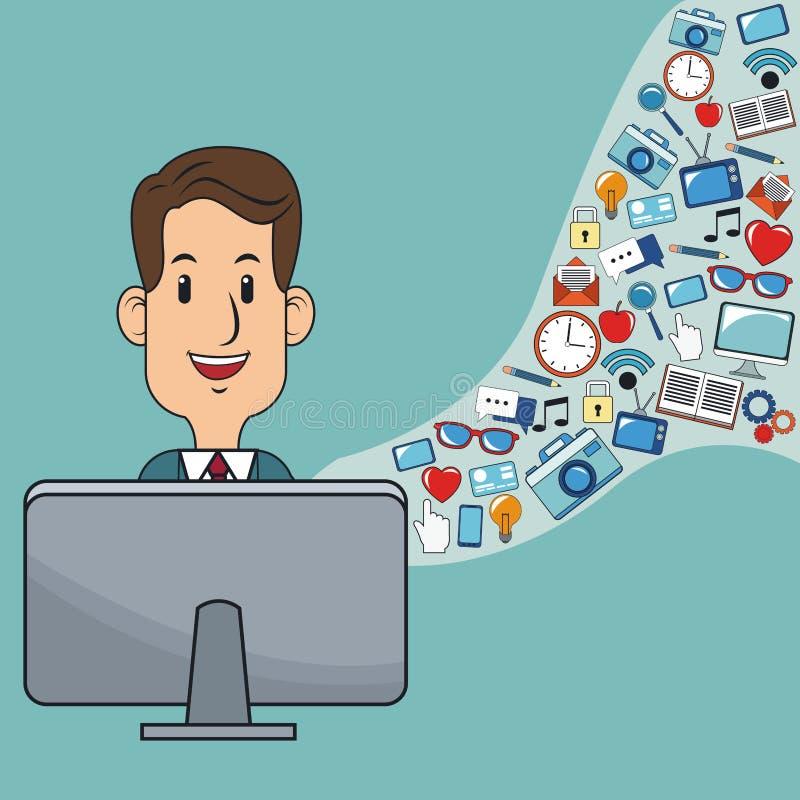 Mens digitaal marketing website sociaal netwerk royalty-vrije illustratie