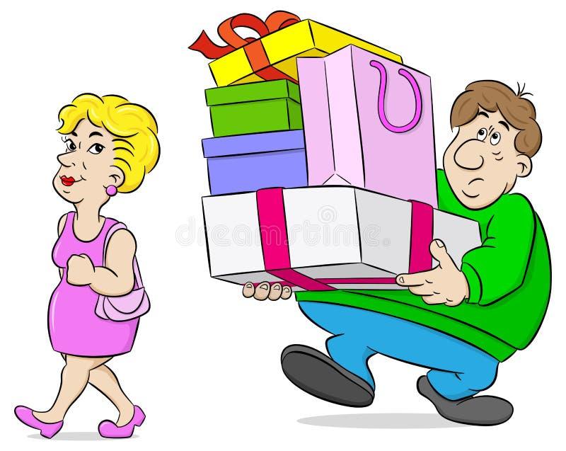 Mens dragen die doet zijn vrouw in zakken winkelen vector illustratie
