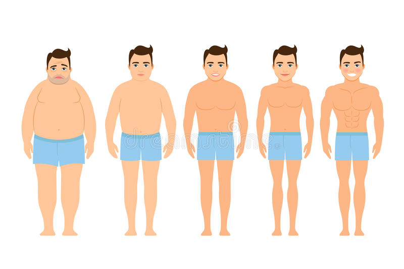 Mens before and after een dieet vector illustratie