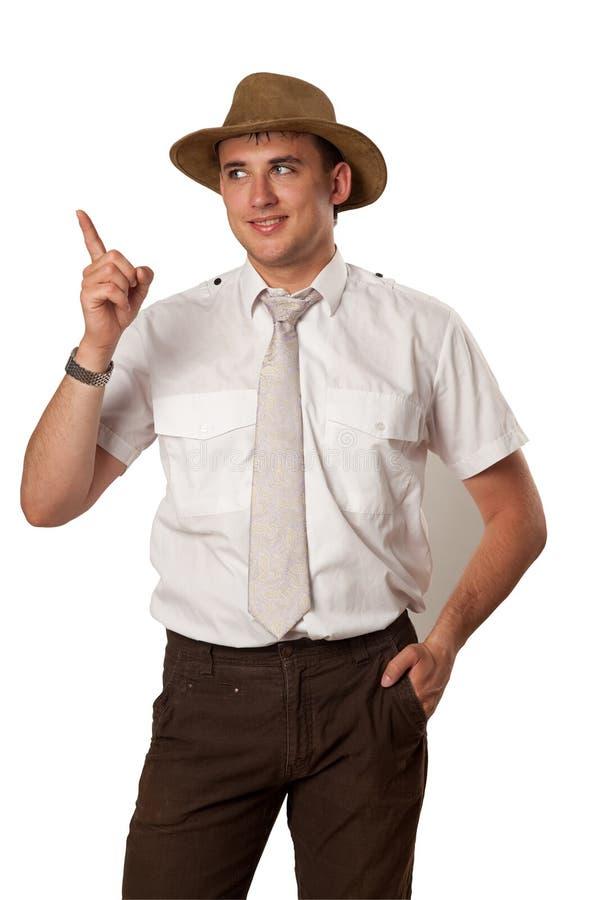 Mens in een hoed stock foto's
