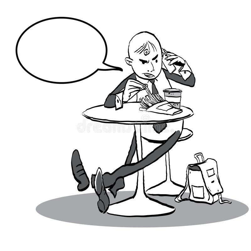 Mens in een koffie die met telefoon spreken Mens die boos gesprek hebben vector illustratie