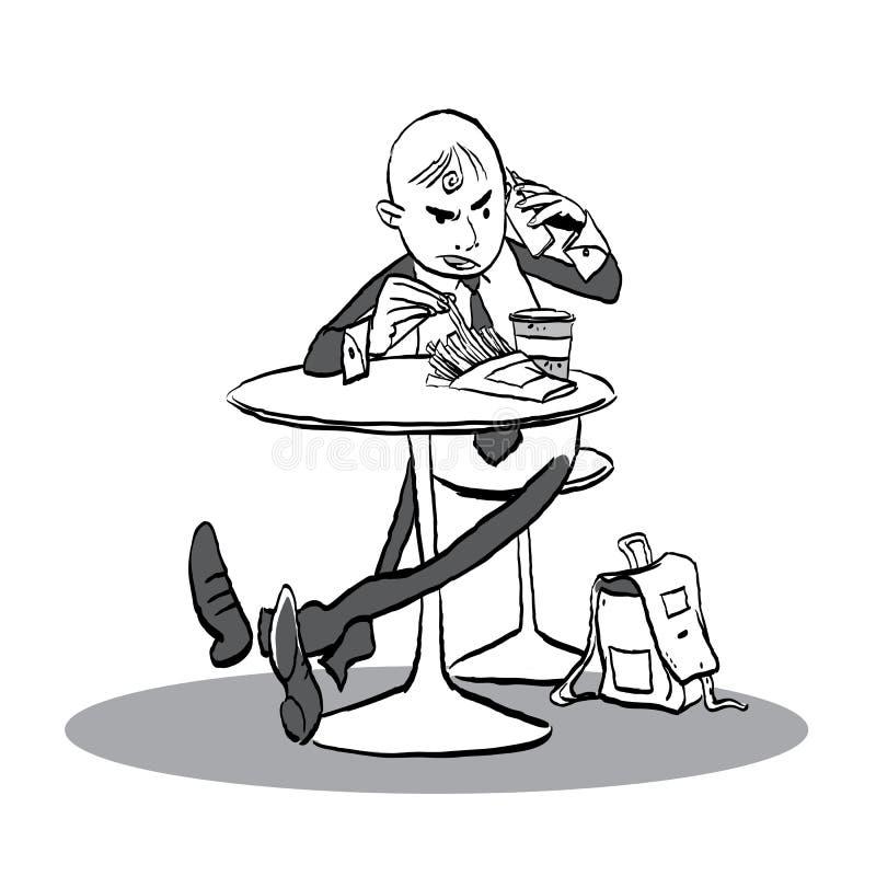 Mens in een koffie die met telefoon spreken Mens die boos gesprek hebben royalty-vrije illustratie