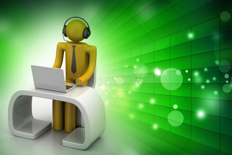 Mens in een modern bureau met laptop vector illustratie