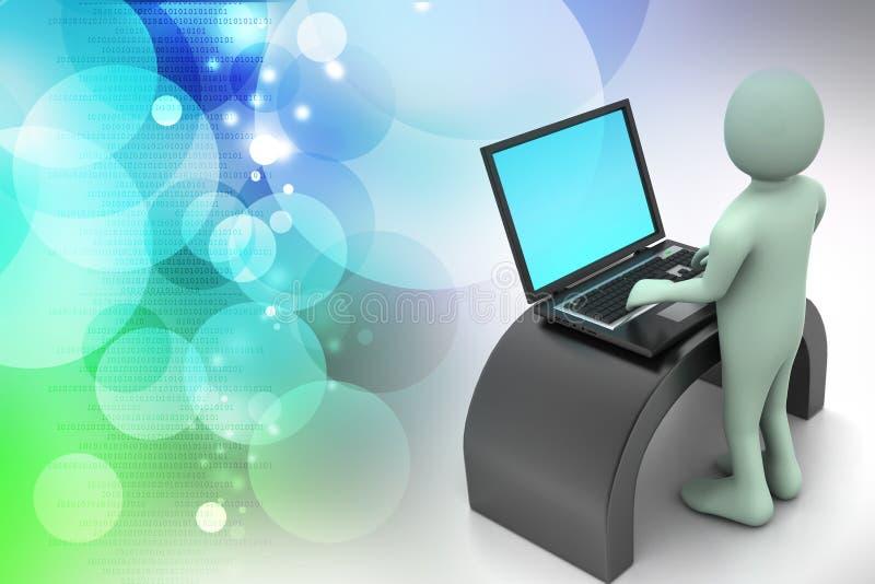 Mens in een modern bureau met laptop royalty-vrije illustratie