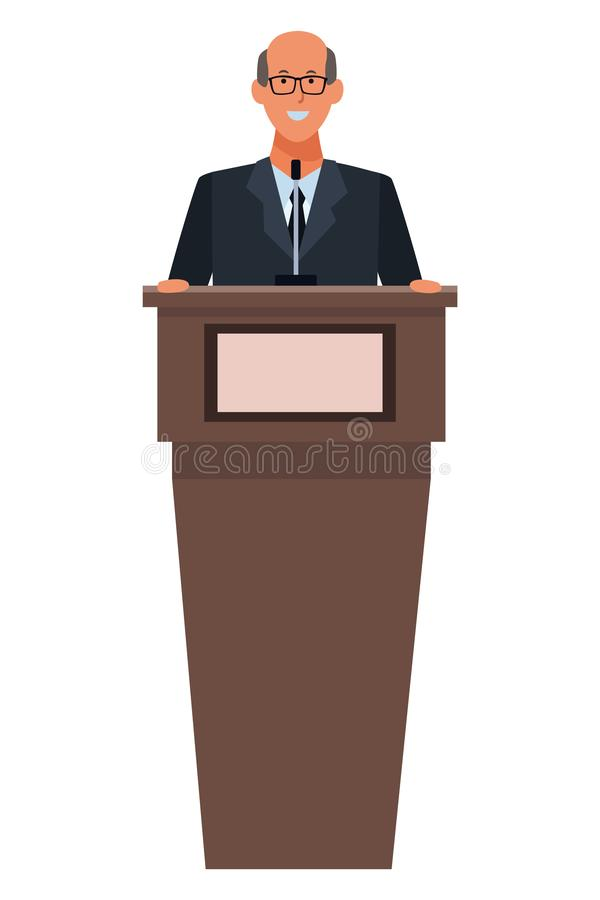 Mens in een podium stock illustratie
