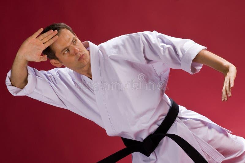 Mens in eenvormige Karate stock foto's