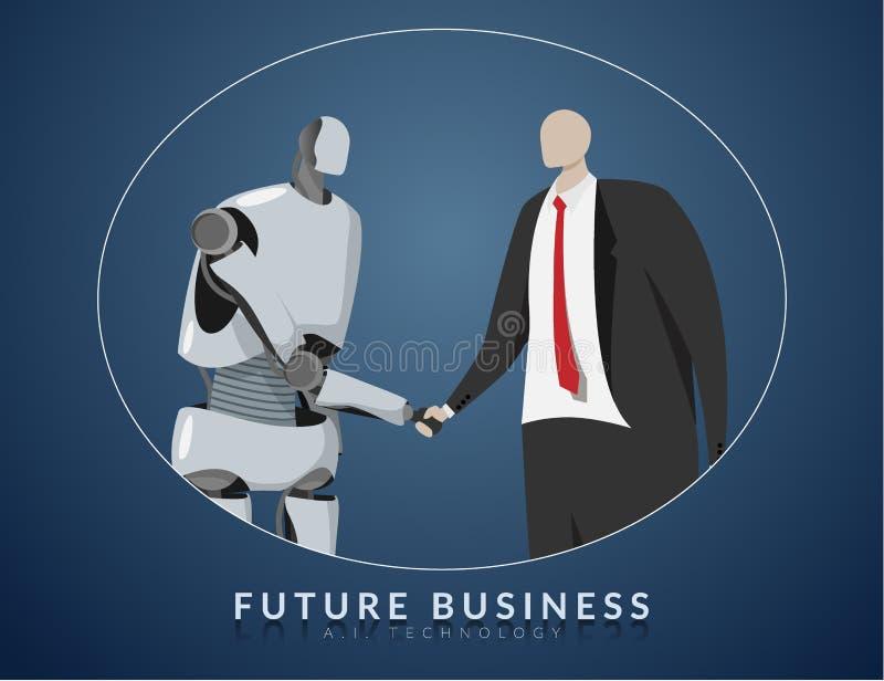 Mens en AI, toekomstig bedrijfs, technologie en innovatieconcept die samenwerken AI of kunstmatige intelligentie het schudden han royalty-vrije illustratie