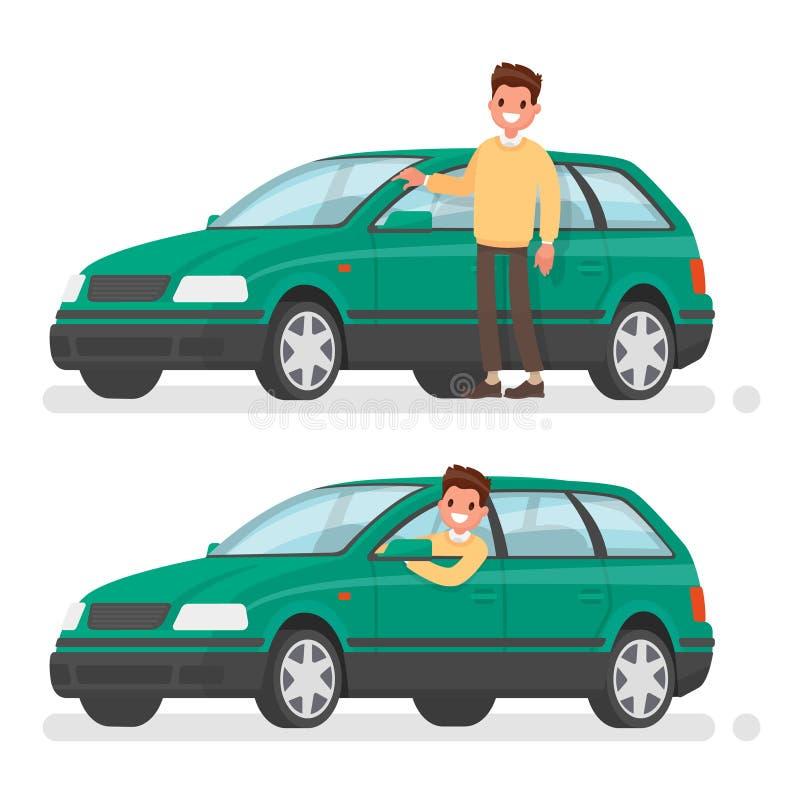 Mens en auto Een gelukkige koper van een nieuw voertuig stock illustratie