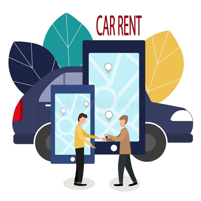 Mens en autohandelaar Makend overeenkomsten online autohuur Vectorillustratie in vlakke stijl De handelaar overhandigt de sleutel vector illustratie