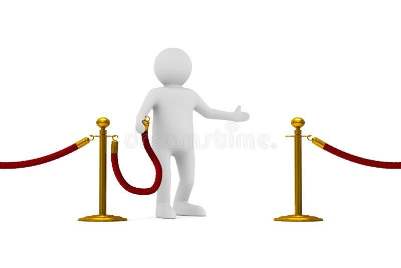 Mens en barrièrekabel op witte achtergrond Geïsoleerde 3d illustrati royalty-vrije illustratie