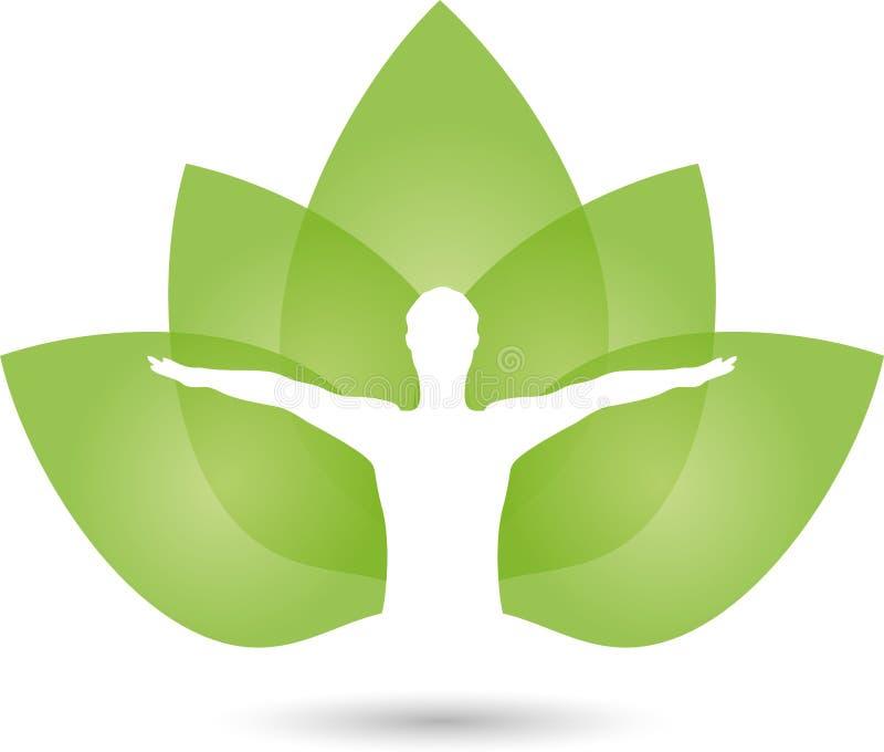 Mens en bladeren, naturopath en geschiktheidsembleem