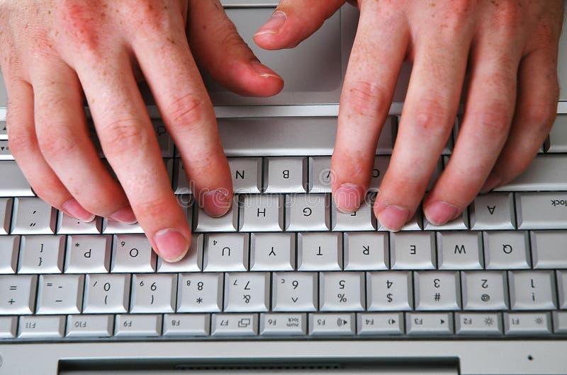 Mens en computer-4 royalty-vrije stock afbeeldingen