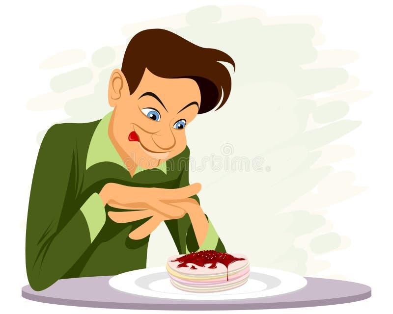 Mens en een heerlijk dessert royalty-vrije illustratie