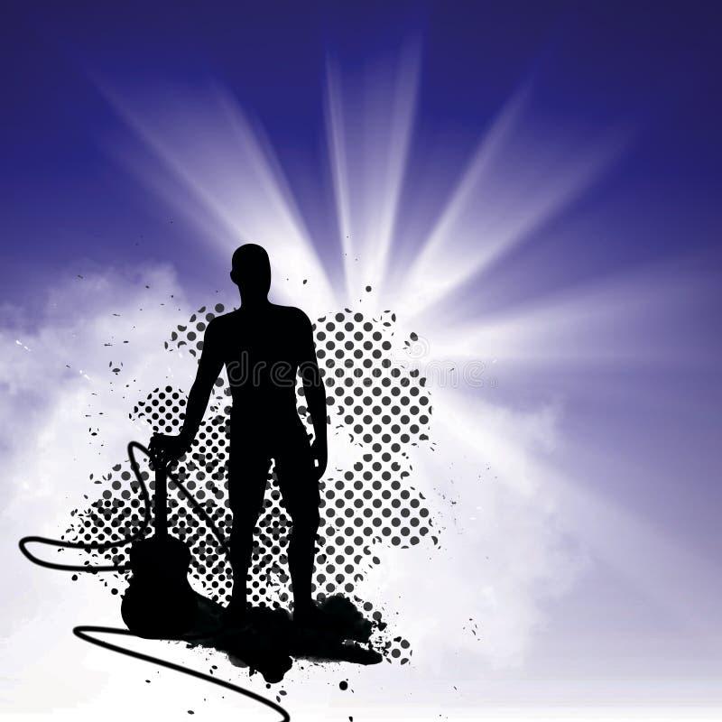 Mens en gitaar stock afbeeldingen