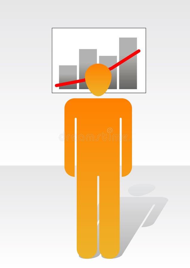 Mens en grafiek royalty-vrije illustratie