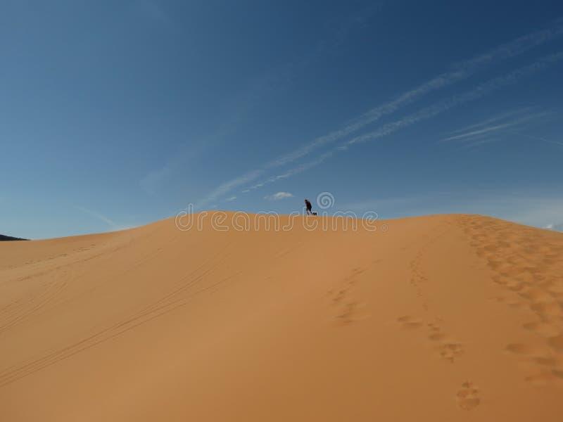 Mens en Hond die omhoog het Duin van het Woestijnzand in Utah lopen stock afbeeldingen