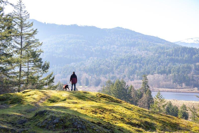 Mens en hond die op het Eiland van Vancouver wandelen, BC, Canada stock foto's