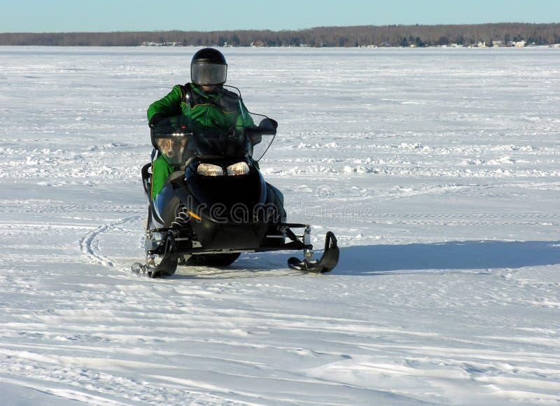Mens en Hond op Sneeuwscooter royalty-vrije stock fotografie