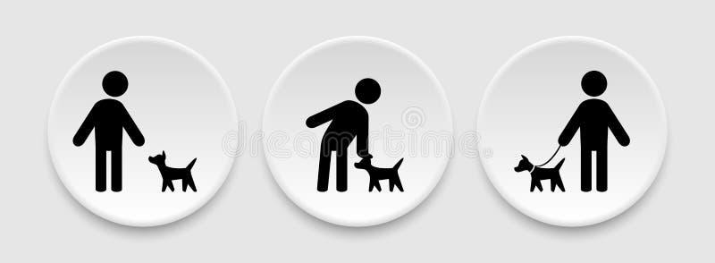 Mens en hondpictogrammen vector illustratie