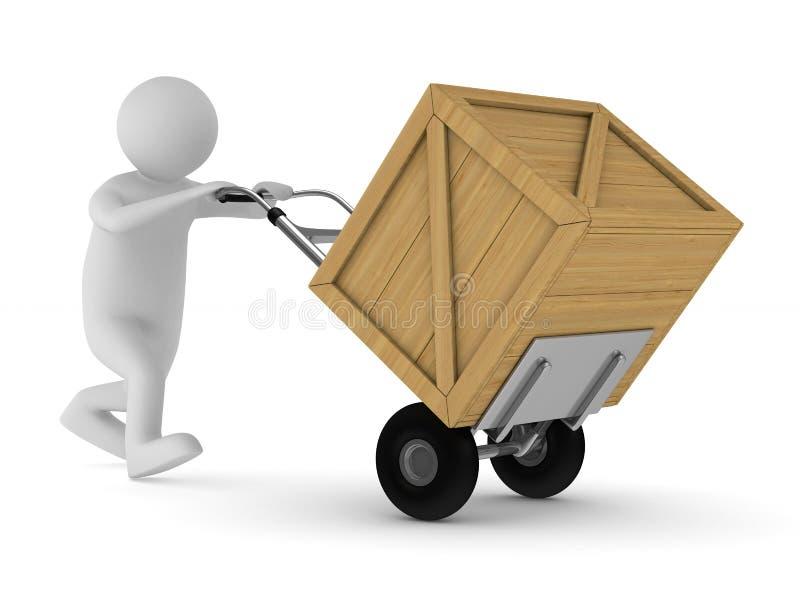 Mens en houten doos stock illustratie