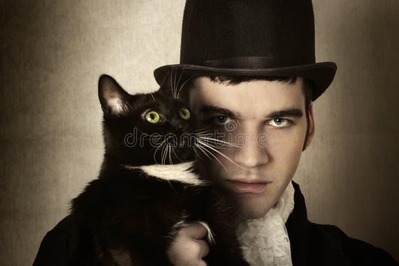 Mens en kat stock foto's