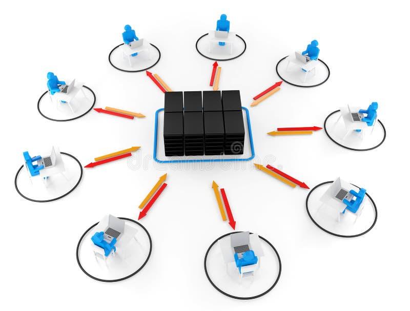 Mens en laptop met servernetwerk. 3D Beeld vector illustratie