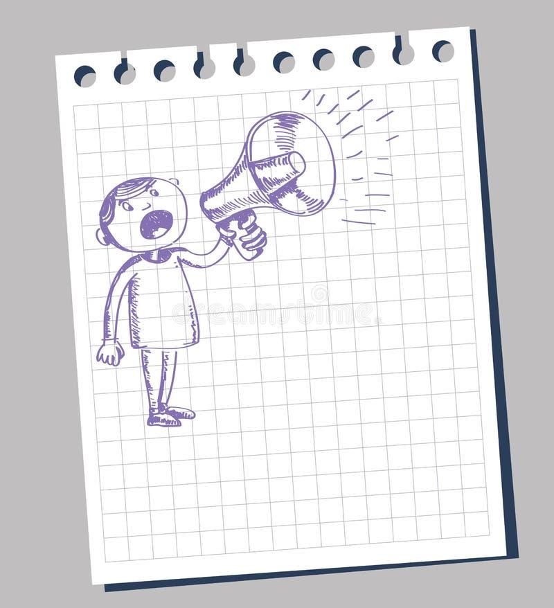 Mens en megafoon vector illustratie