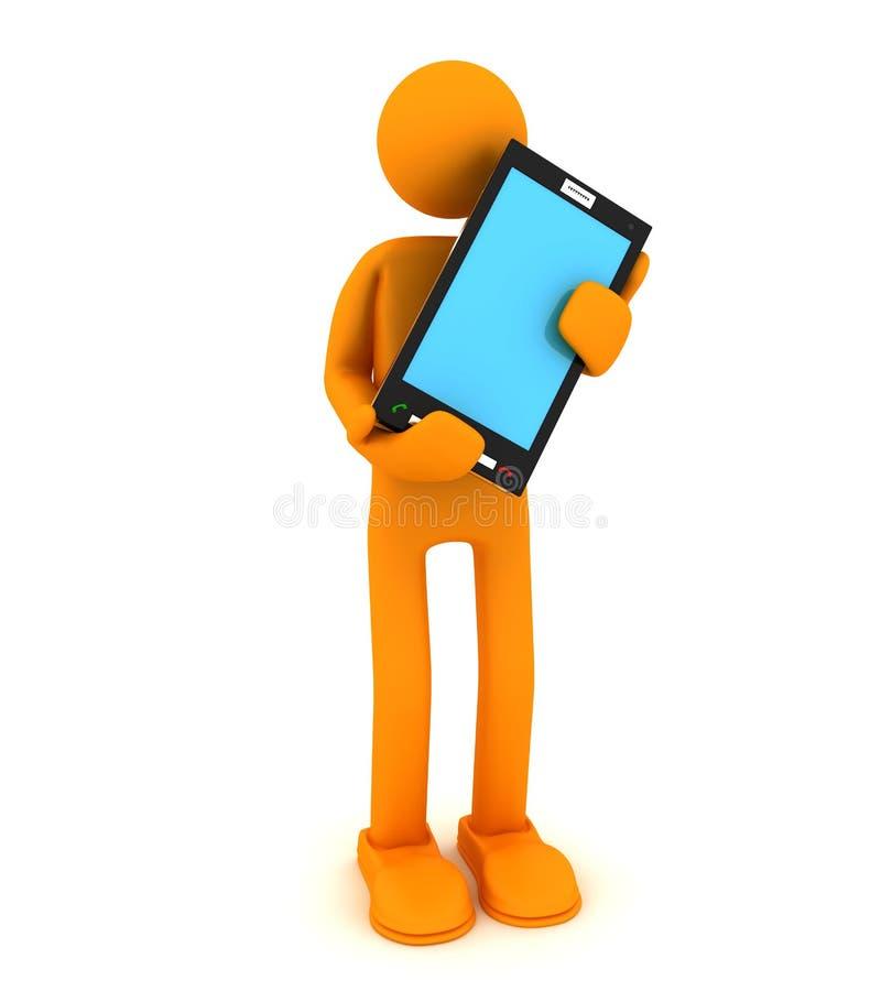 Mens en mobiele telefoon vector illustratie
