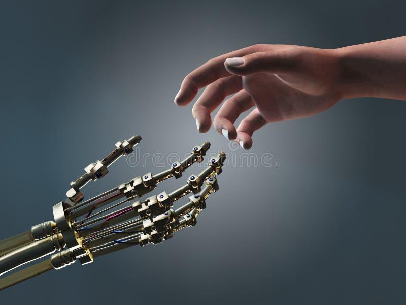 Mens en robot die handen helpen stock fotografie
