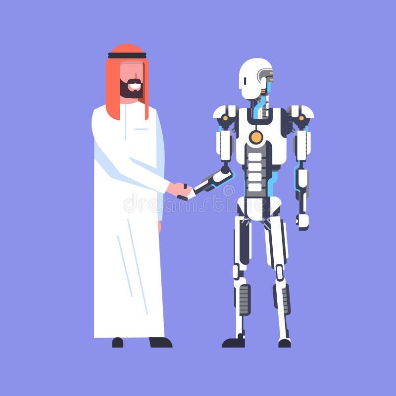 Mens en Robothanddruk, Arabische Moderne Robotachtig van Zakenmanshaking hands with, Kunstmatige intelligentieconcept stock illustratie